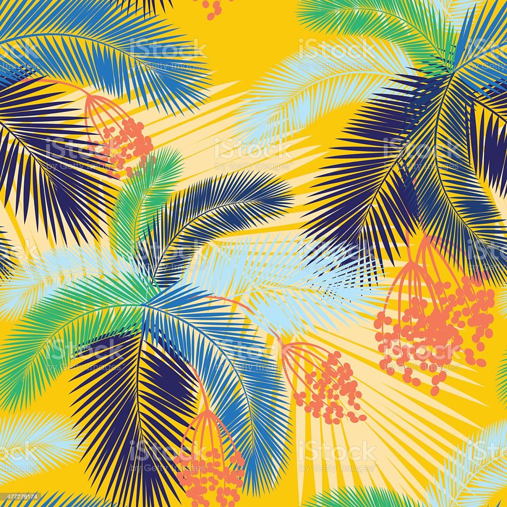 Vektorillustration Nahtlose Farbe Palm Blätter Und Früchtemuster ...