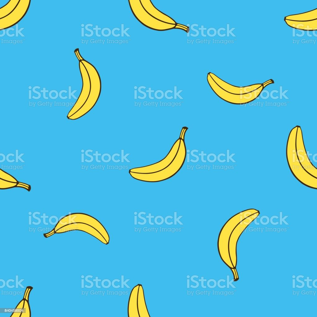 Vector illustration. Seamless pattern with falling yellow not peeled banana in pop art style on blue background. Healthy vegetarian food. Pattern with contour vector art illustration