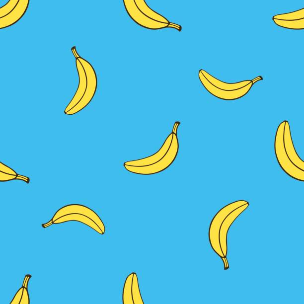 Vector illustration. Seamless pattern with falling yellow not peeled banana in pop art style on blue background. Healthy vegetarian food. Pattern with contour Vector illustration. Seamless pattern with falling yellow not peeled banana in pop art style on blue background. Healthy vegetarian food. Pattern with contour banana stock illustrations