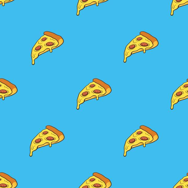 Vector illustration. Seamless pattern with pizza slice in pop art style on blue background. Fast food and italian cuisine. Pattern with contour vector art illustration