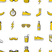 Vector illustration seamless pattern with sport icons: sunglasses, socks, banana, stopwatch, water bottle, sneakers, lightning, lemonade with glass, pineapple