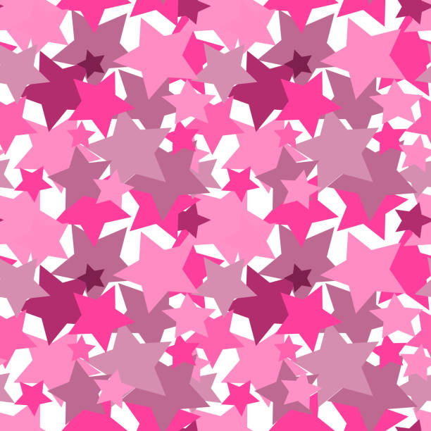 Bекторная иллюстрация Vector illustration, seamless texture, pattern, square - pink stars