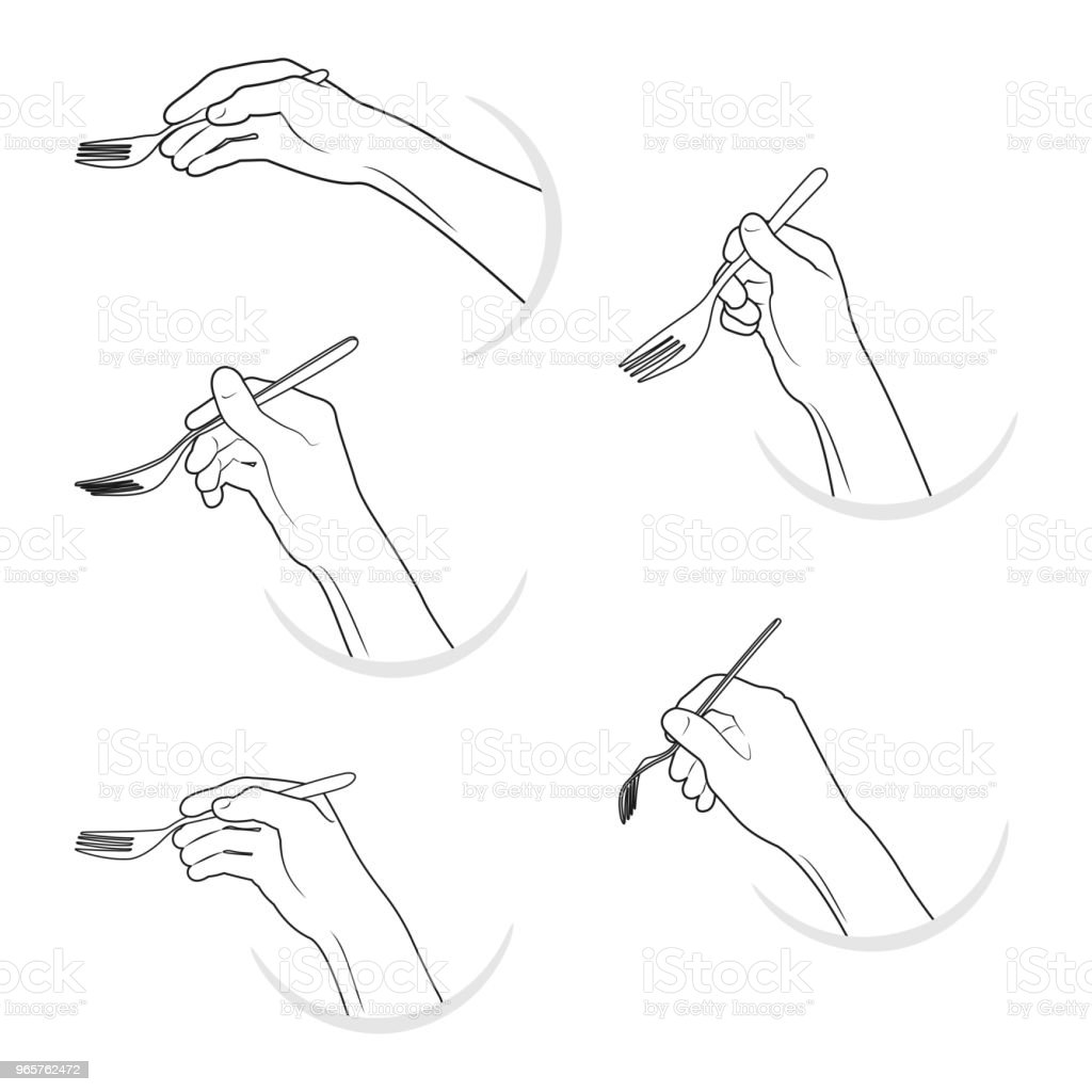 Vector illustration set black outline hands silhouette hold forks - Royalty-free Arm stock vector