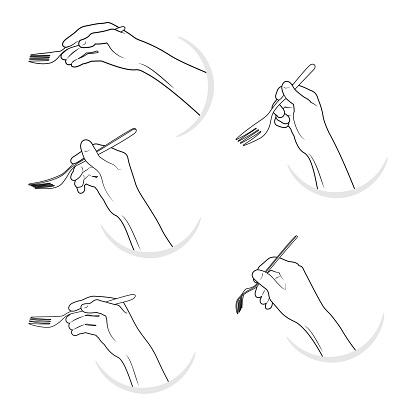 Vectorillustratie Instellen Zwarte Omtrek Handen Silhouet Greep Vorken Stockvectorkunst en meer beelden van Arm - lichaamsdeel