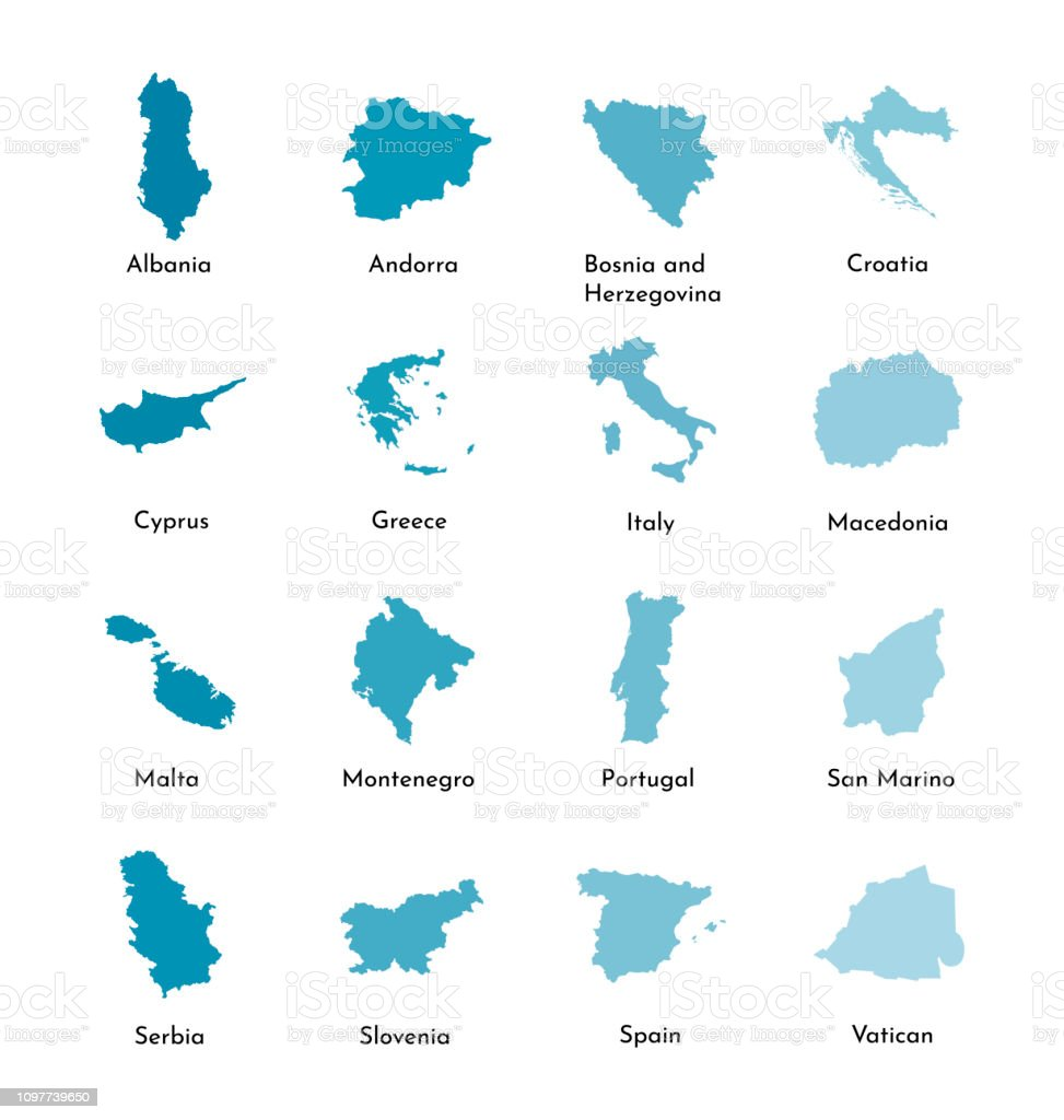 Vector Illustration Set Maps Of South Europe Serbia ...