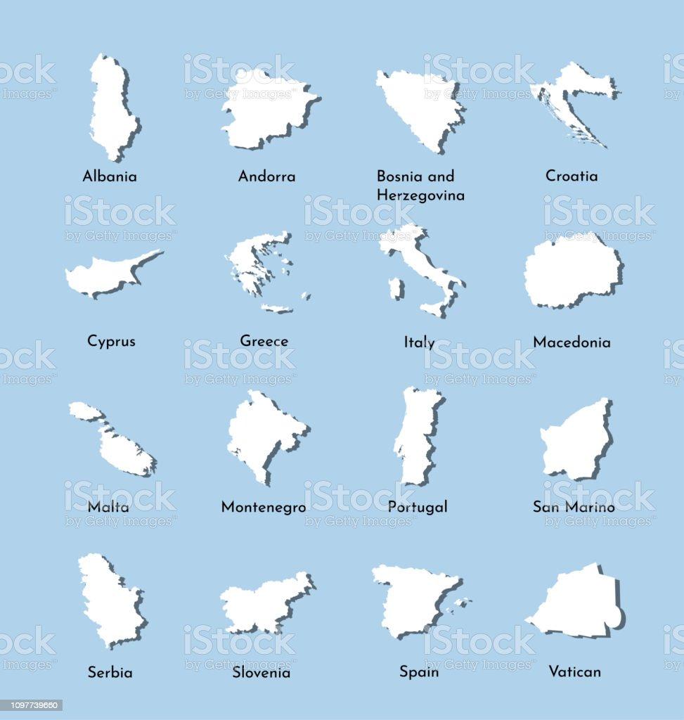 Karte Montenegro Kroatien.Vektorillustration Legen Sie Karten Von Sudeuropa Serbien