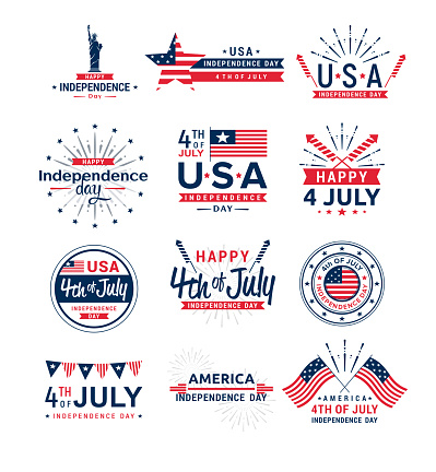 Vector illustration set of 4th of July greeting logos, United Stated independence day greeting. Fourth of July typographic elements collection for design, greeting card, banner, isolated on white background.