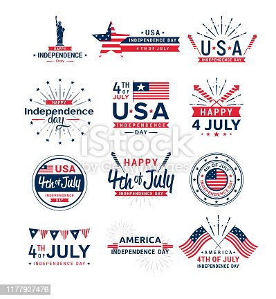 Vector illustration set of 4th of July greeting logos, United Stated independence day greeting. Fourth of July typographic elements collection for design, greeting card, banner, isolated on white background