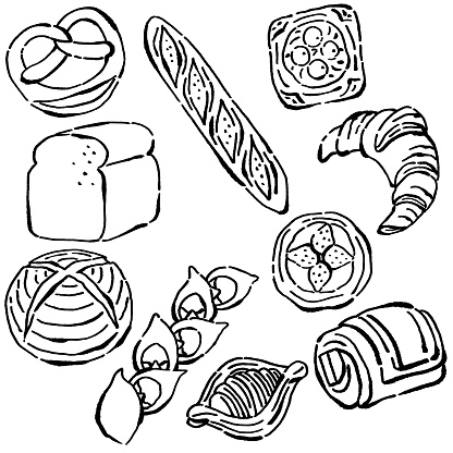 Vector illustration set of a simple line drawing of bread in ink painting style.