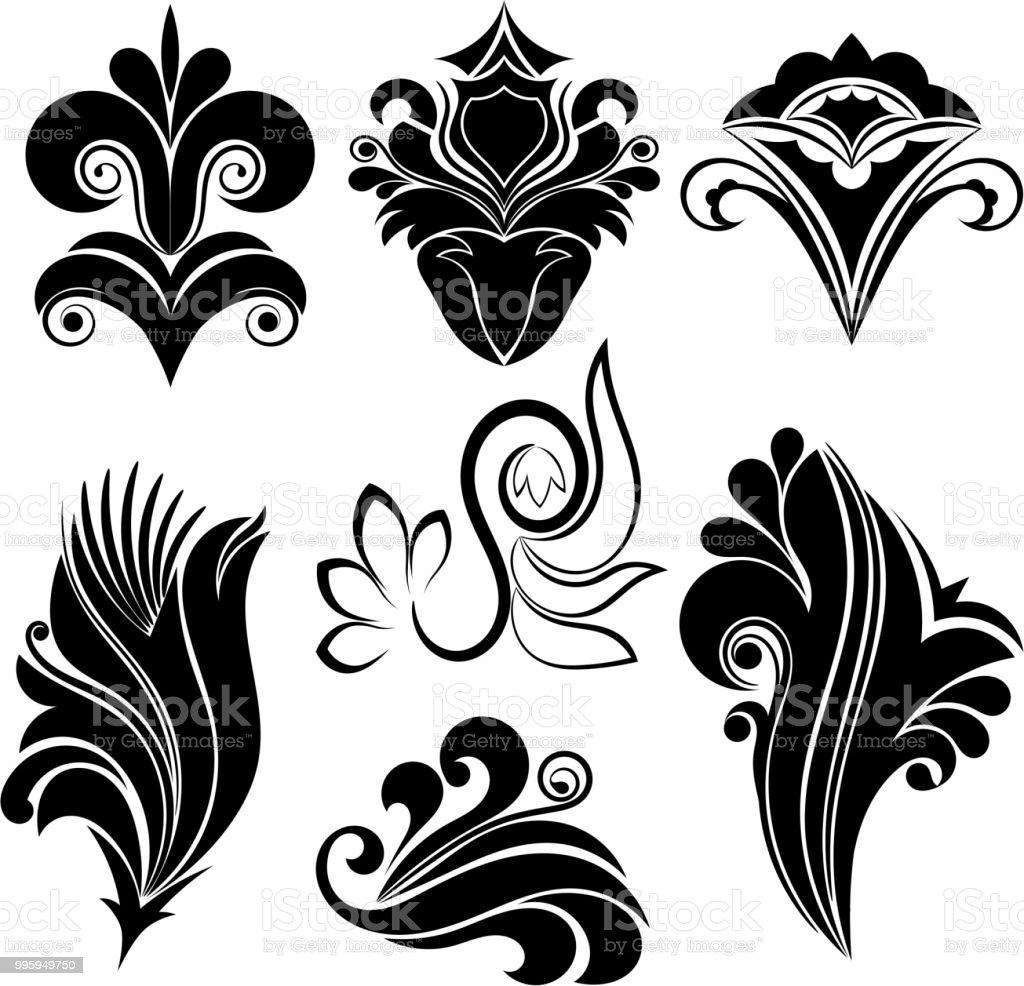 Vektor illustration uppsättning abstrakta svart virvel blommönster på vit bakgrund vektorkonstillustration