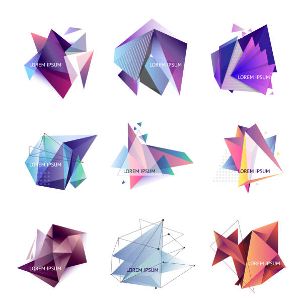 Vector illustration. Set of abstract triangle frames. Geometric figures, crystal. Template for text Vector illustration. Set of abstract triangle frames two dimensional shape stock illustrations