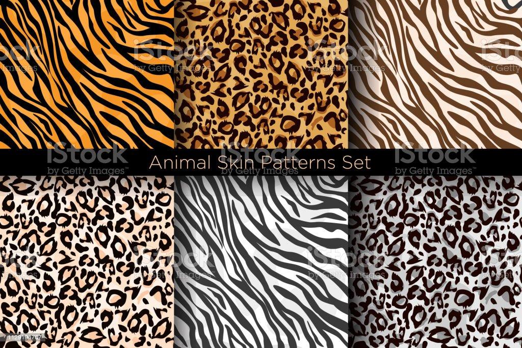 Set de Vector illustration d'animal sans soudure imprime. Collection de patrons Tiger et leopard en différentes couleurs dans le style plat. - clipart vectoriel de Abstrait libre de droits