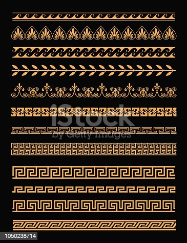 Vector illustration set of antique greek borders and seamless ornaments in golden color on black background in flat style. Greece concept elements