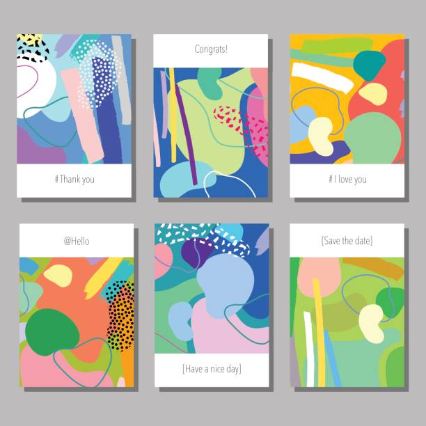 Vector illustration set of artistic colorful universal cards. Vector illustration set of artistic colorful universal cards. Wedding, anniversary, birthday, holiday, party. Design for poster, card, invitation. natural pattern stock illustrations
