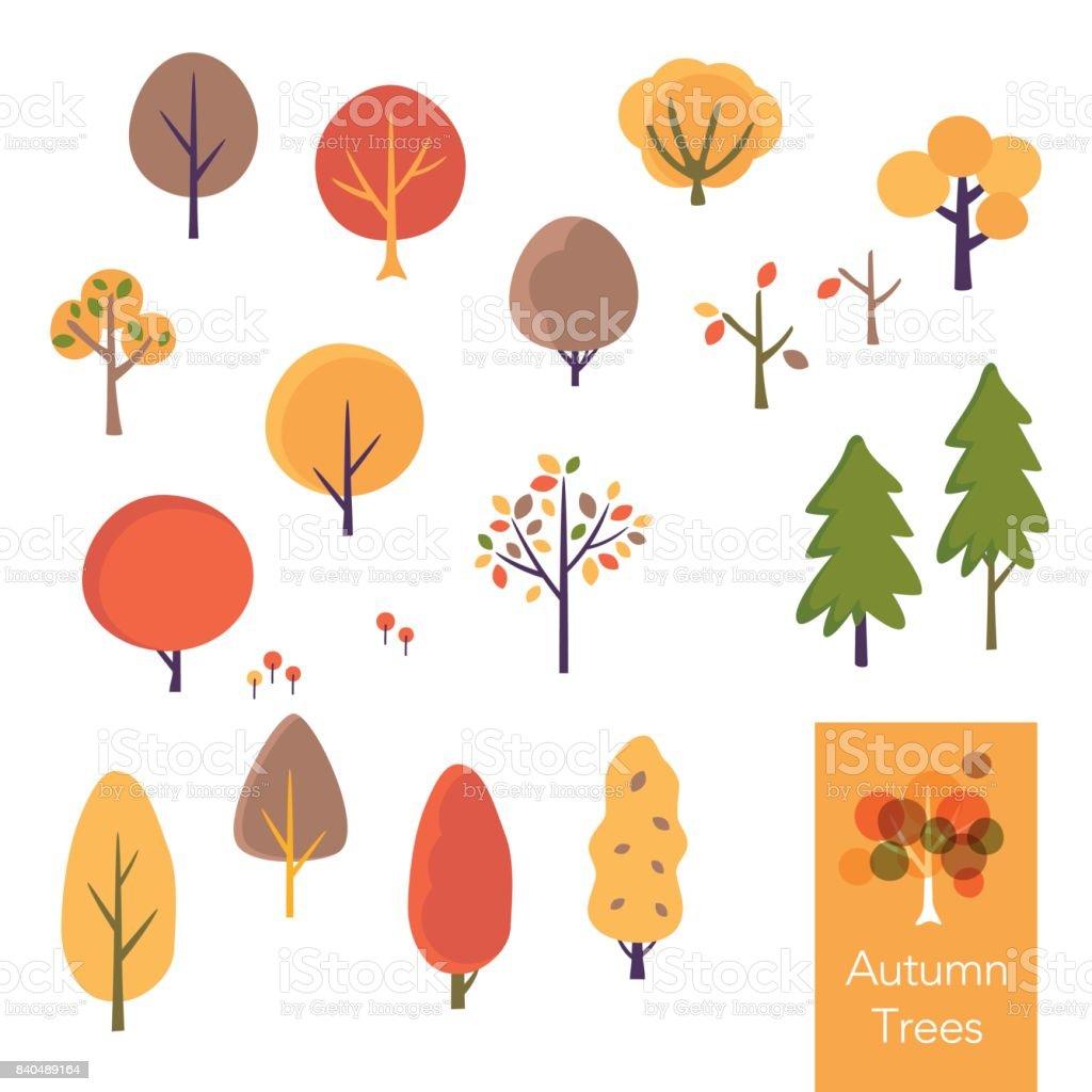 秋の木々 のベクトル イラスト セット ベクターアートイラスト