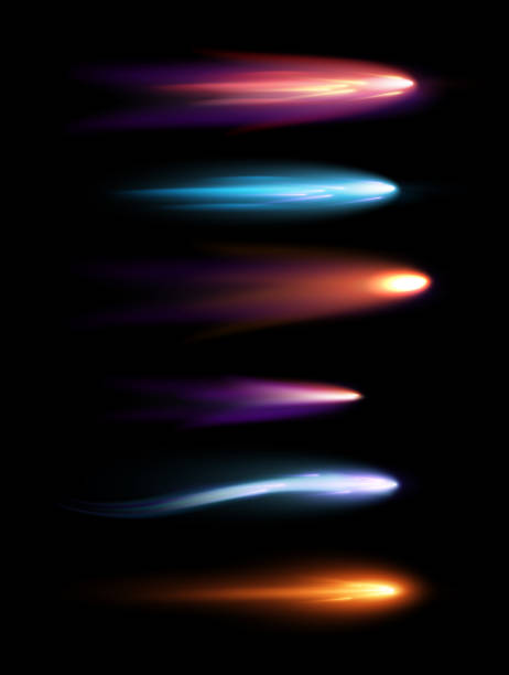 Vector illustration set of beautiful different shapes meteors, comets and fireballs with lighting effect in black galaxy space. Vector illustration set of beautiful different shapes meteors, comets and fireballs with lighting effect in black galaxy space shooting a weapon stock illustrations