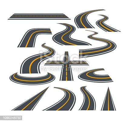Vector illustration set of bending roads and highways isolated on white background