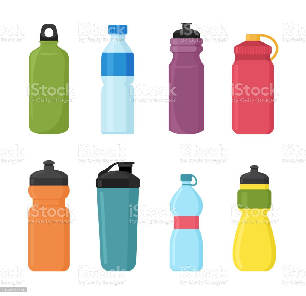 vector illustration set of bicycle plastic bottle for water in