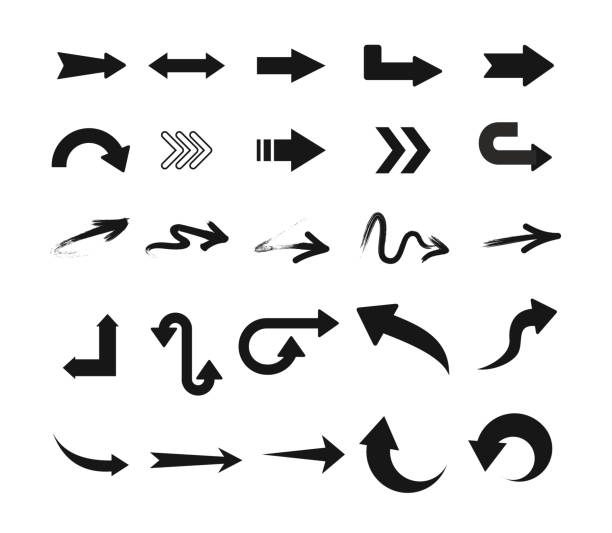 vector illustration set of black arrow icons in different design isolated on white background. - arrows stock illustrations