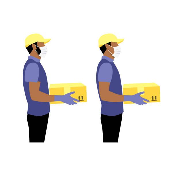 ilustrações de stock, clip art, desenhos animados e ícones de vector illustration set of black or latin courier in protective gloves and masks with package.  delivering the parcel or box concept. - afro latino mask