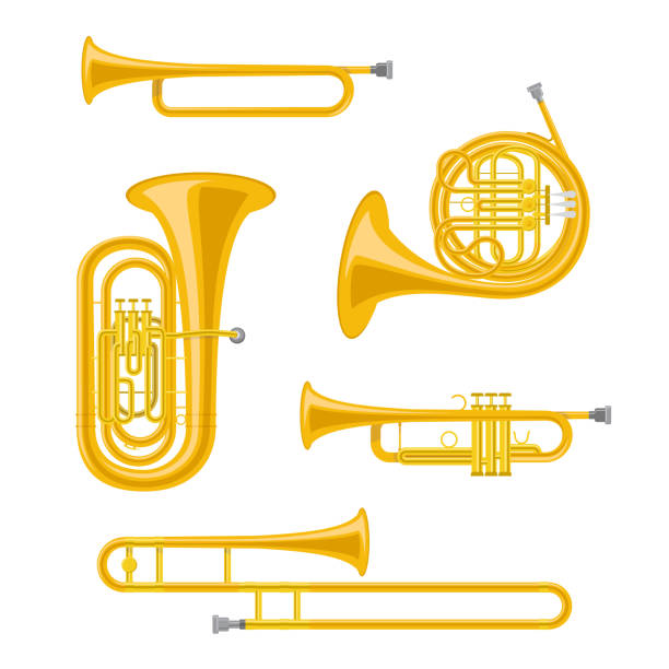 stockillustraties, clipart, cartoons en iconen met vector illustratie set messing muziekinstrumenten in cartoon stijl geïsoleerd op witte achtergrond - blaasinstrument
