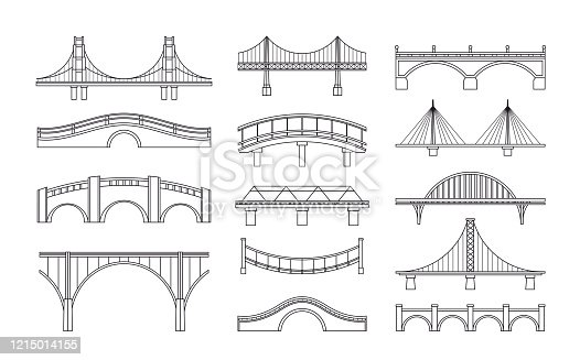 Vector illustration set of bridges icons. Types of bridges. Linear style icon collection of different bridges. Possible use in infographic design, urbanistic concept elements