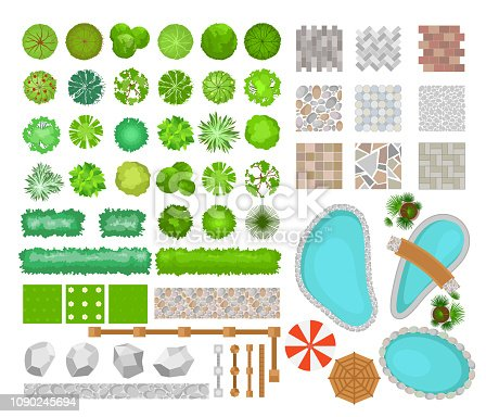 Vector illustration set of bright colorful parck elements for landscape design. Top view of trees, plants, outdoor furniture, architectural elements, pools and fences. Benches, chairs and tables, umbrellas in flat style