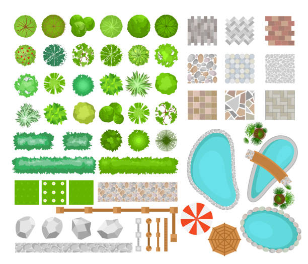 ilustrações de stock, clip art, desenhos animados e ícones de vector illustration set of bright colorful parck elements for landscape design. top view of trees, plants, outdoor furniture, architectural elements, pools and fences. benches, chairs and tables, umbrellas in flat style. - garden