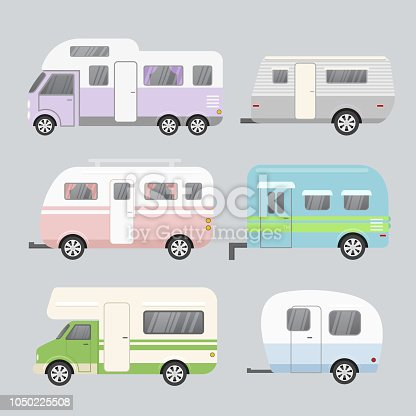 Vector illustration set of camping trailers. Concept of travel mobile home isolated on light grey background in flat cartoon style and pastel colors