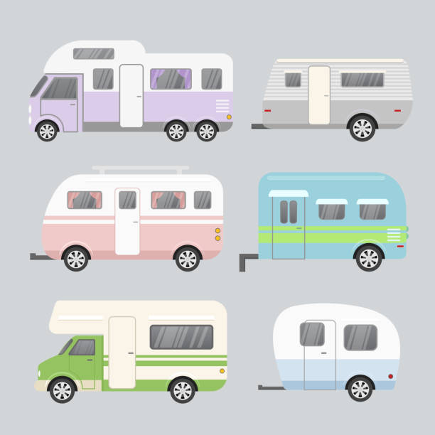 stockillustraties, clipart, cartoons en iconen met vectorillustratie set camping aanhangwagens. concept van reizen stacaravan geïsoleerd op lichte grijze achtergrond in een platte cartoon stijl en pastel kleuren. - caravan