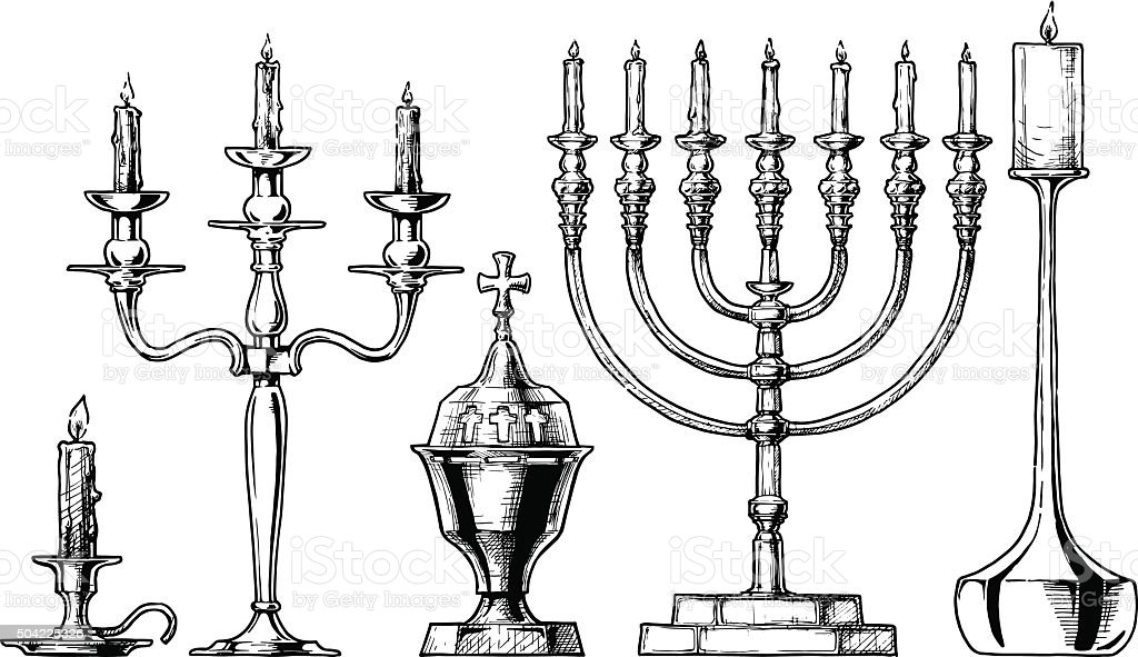 Vector illustration set of candlesticks. vector art illustration