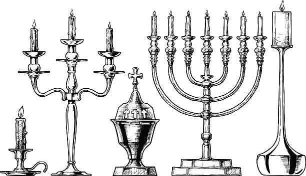 Vector illustration set of candlesticks. Vector hand drawn sketch of candlesticks set in ink hand drawn style.  Candlestick, candelabra, sanctuary lamp, menorah, modern candlestick candlestick holder stock illustrations