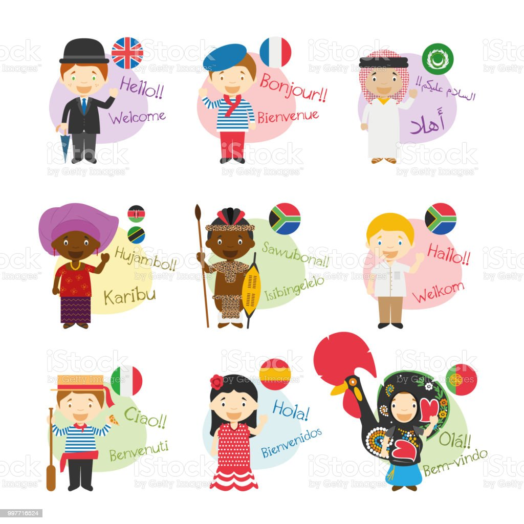 Vector Illustration Set Of Cartoon Characters Saying Hello And