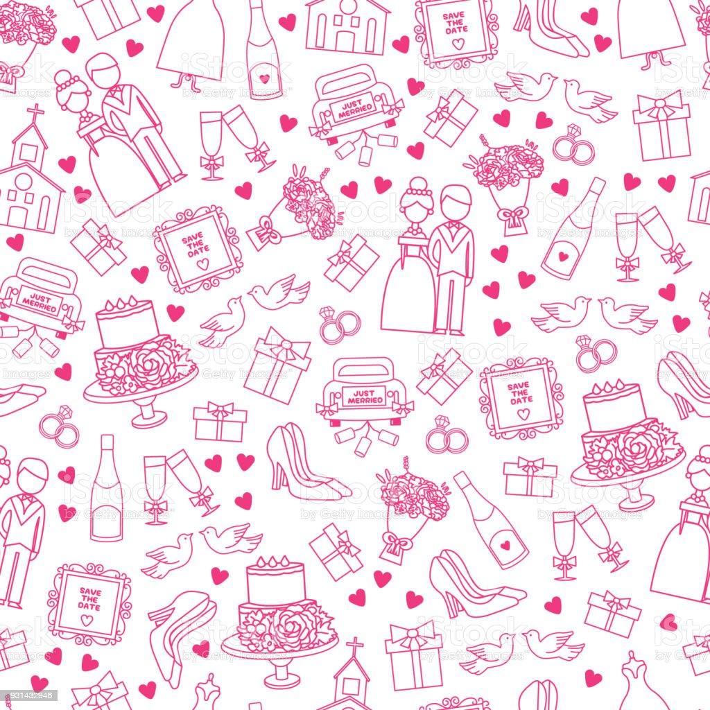 Ilustración De Vector Conjunto De Iconos De Boda Doodle Dibujos ...