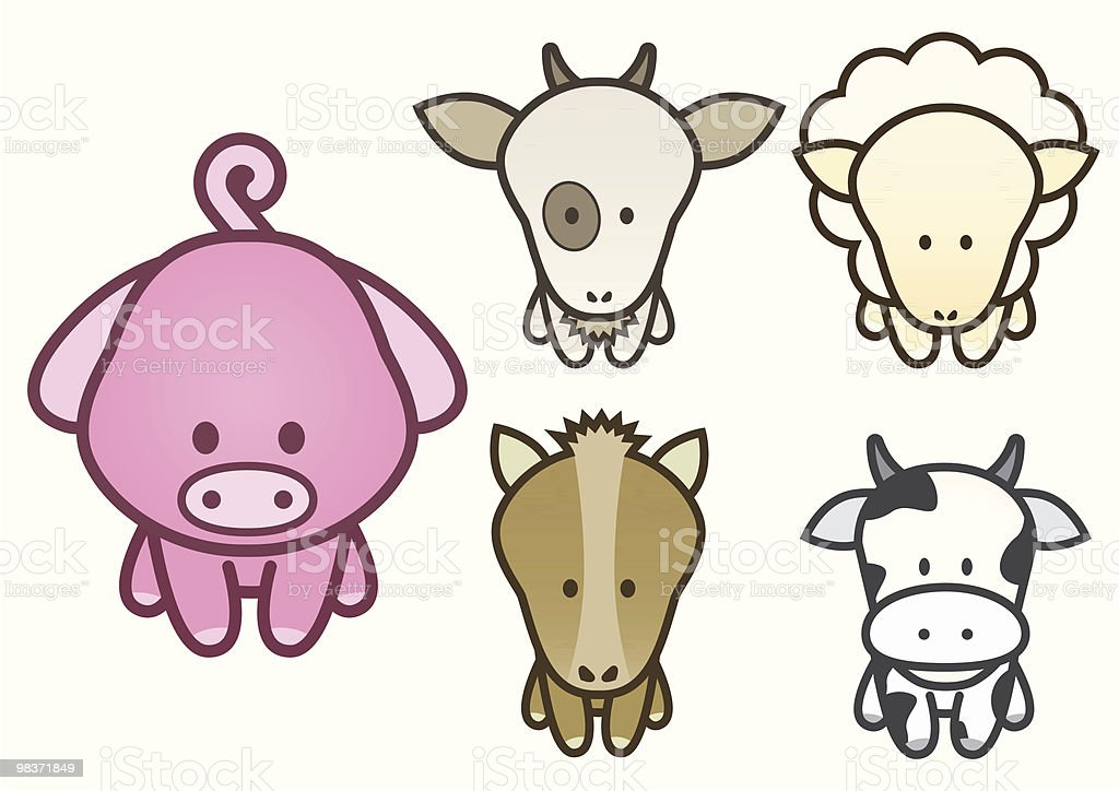 Vector illustration set of cartoon farm animals. royalty-free vector illustration set of cartoon farm animals stock vector art & more images of animal
