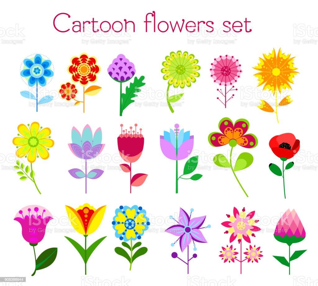 Vetores De Ilustracao Em Vetor Definido De Flores Coloridas De