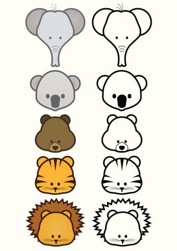 Vector Illustration Set Of Cartoon Wild Or Zoo Animals
