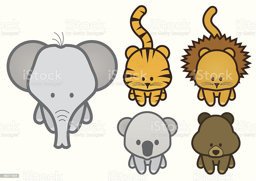 Vector illustration set of cartoon wild or zoo animals. royalty-free vector illustration set of cartoon wild or zoo animals stock vector art & more images of animal