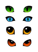 Vector illustration set of cat emotions eyes in different colors isolated on white background. Green, blue and yellow cats eyes.