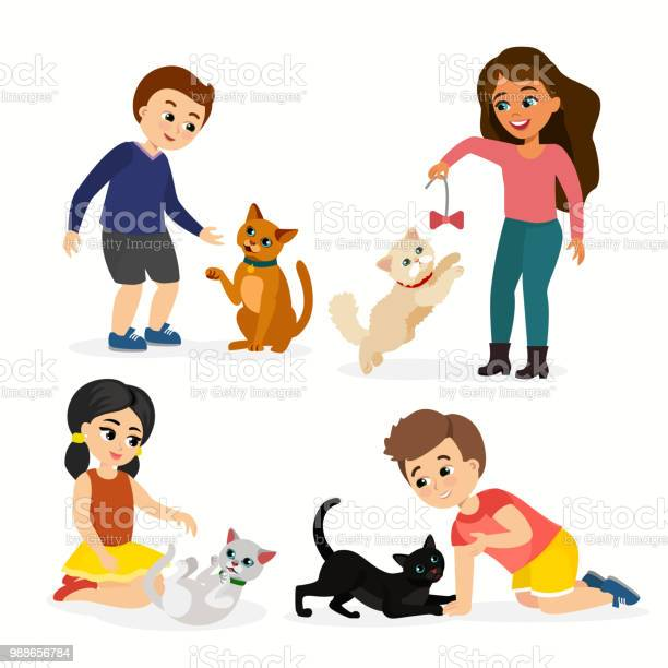 Vector illustration set of children and cats happy funny kids playing vector id988656784?b=1&k=6&m=988656784&s=612x612&h=ldzjrvuecpqf32 zob5b qev4nonqstmc5tpxiymwui=