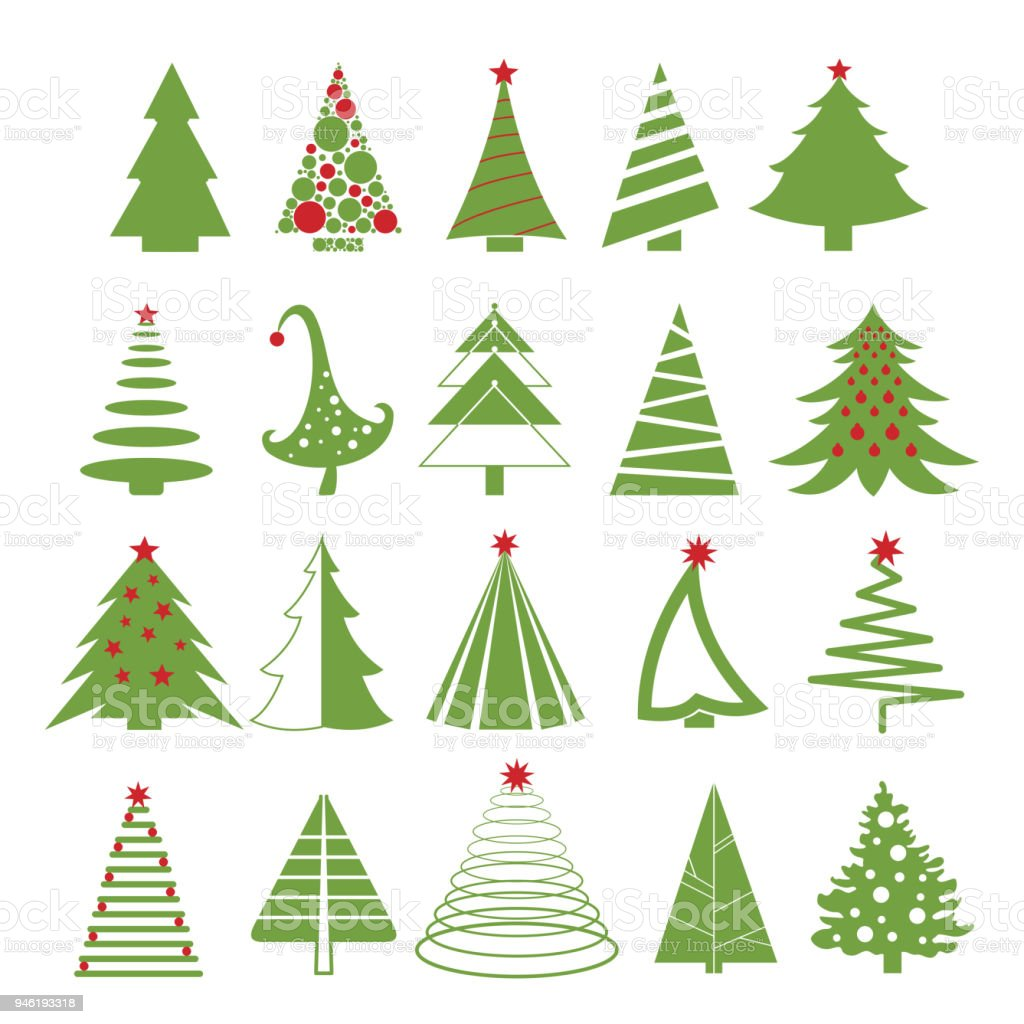 vector illustration set of christmas trees in red and green colors on white background flat - Why Are Christmas Colors Red And Green