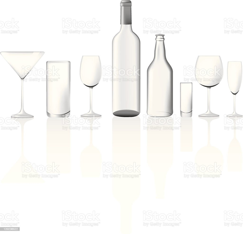 Vector illustration set of clear glass empty bottles and glasses royalty-free stock vector art