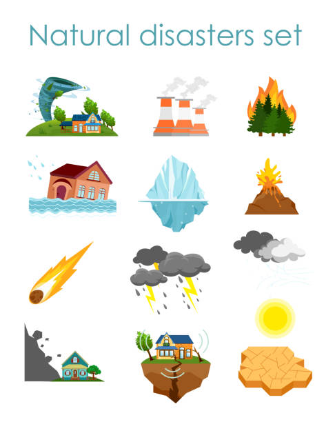 Vector illustration set of color icons natural disasters isolated on white background, collection of elements storm, fire and hurricane. Vector illustration set of color icons natural disasters isolated on white background, collection of elements storm, fire and hurricane earthquake stock illustrations