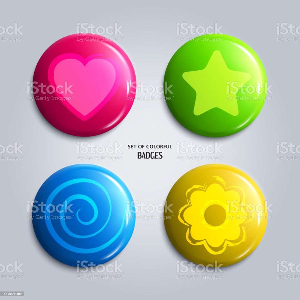 Vector Illustration Set Of Colorful Glossy Badges Magnet