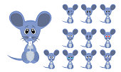 Vector illustration set of cute and funny cartoon little grey mouse