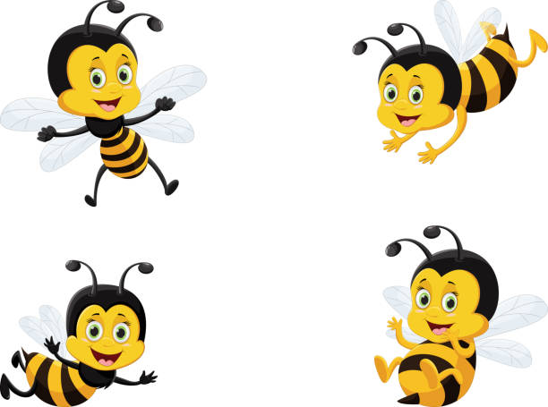 vector illustration set of cute cartoon bee vector illustration set of cute cartoon bee bee clipart stock illustrations