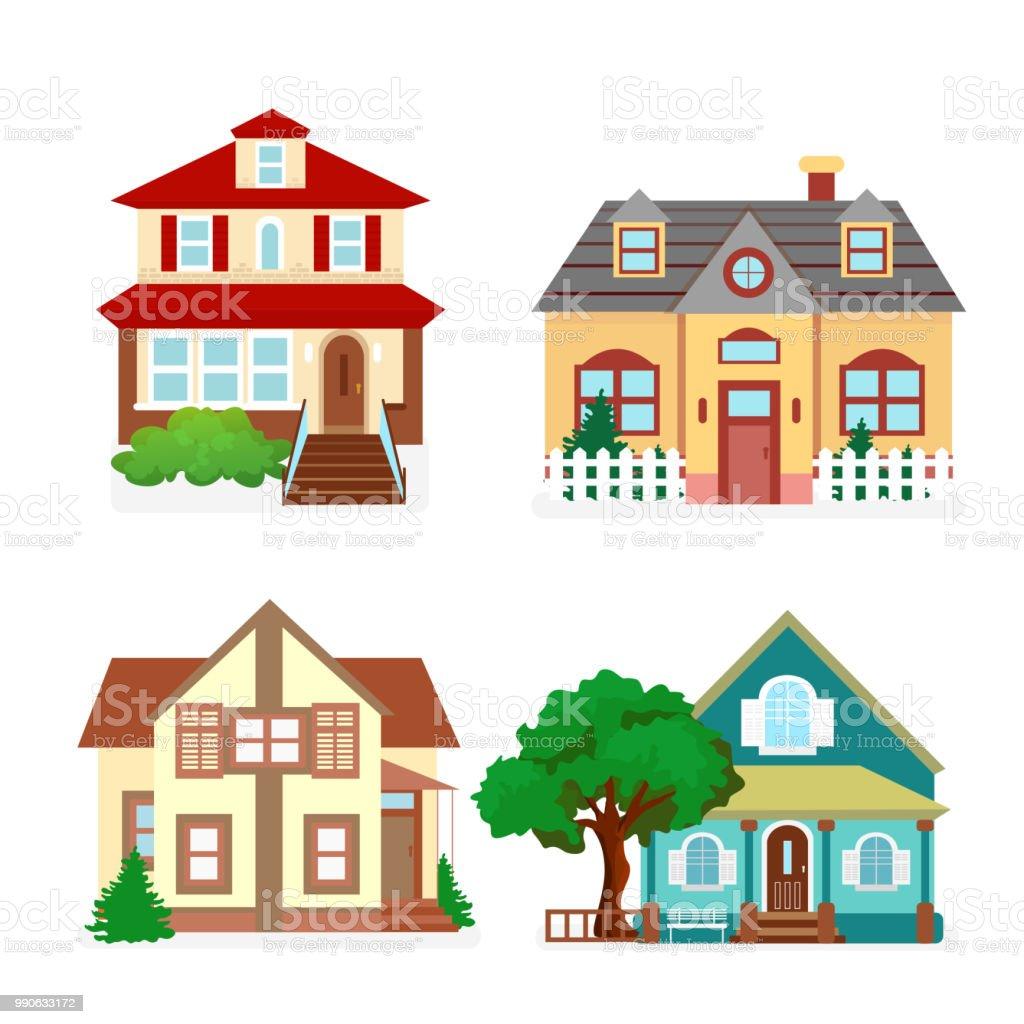 Ilustración De Casas De Ilustración Vector Conjunto De Lindos