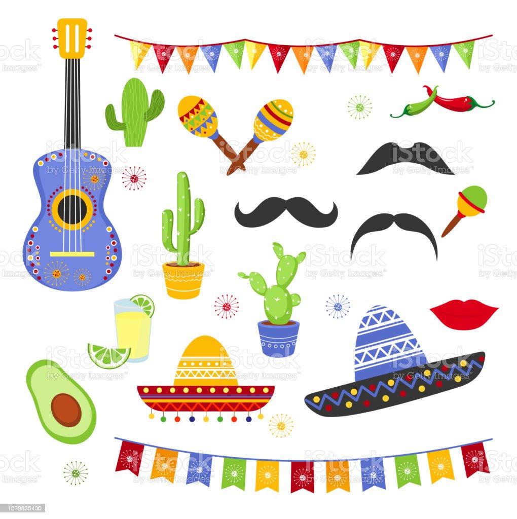 Conjunto de ilustración vectorial de elementos decorativos para la Fiesta.  Colección de Cinco de Mayo 6c7d8b0a5ae