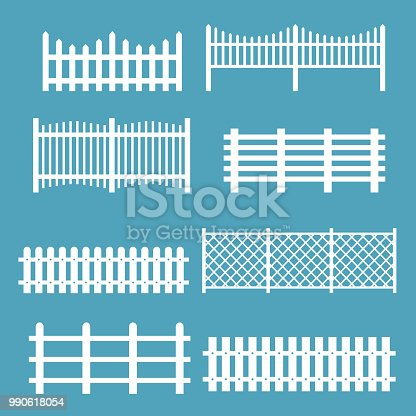 Vector illustration set of different fences white color. Rural silhouettes wooden fences, pickets vector for garden in flat style