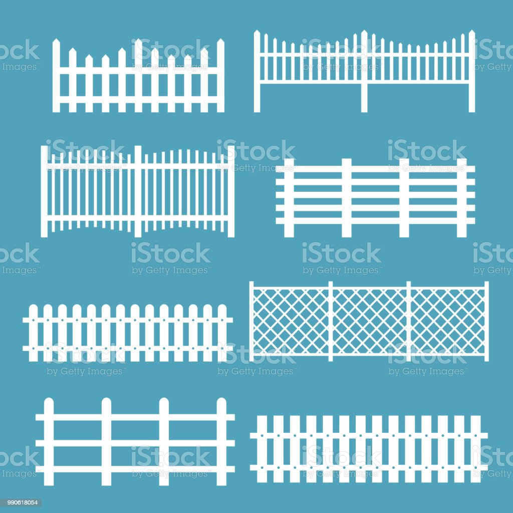 Vector illustration set of different fences white color. Rural silhouettes wooden fences, pickets vector for garden in flat style. vector art illustration